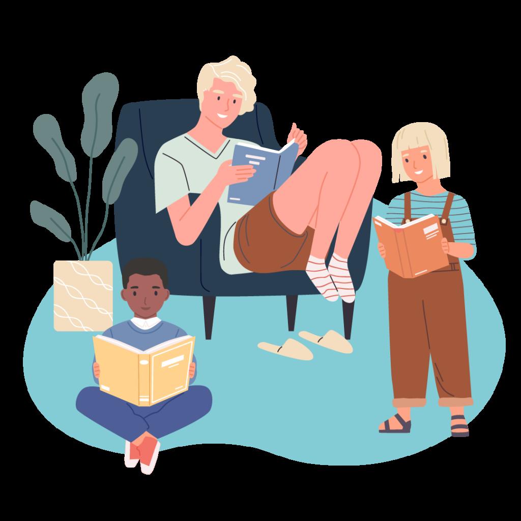 Tonåring och två barn läser