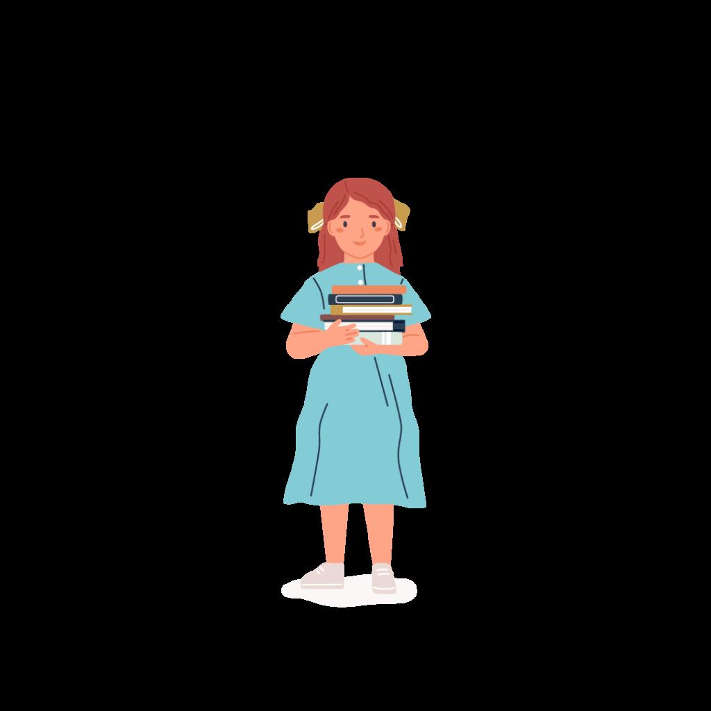 En flicka som bär en hög med böcker
